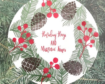 Pine & Holly Holiday Magnetic Sign