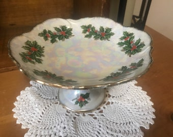 Vintage Ucagco holly and berry serving stand. Desserts. Christmas.