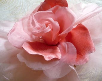 Large pink flowers etsy quick view coral pink large silk rose millinery flower mightylinksfo