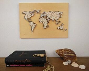 String Art | World Map Decal | Small World Map | World Map Wall Decal | Travel Map | World Map Poster | World Map Wood | World Globe