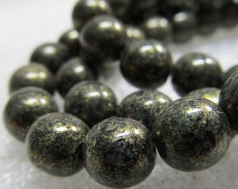 Czech Glass Beads 8mm Opaque Ivy Green with Golden Highlights Smooth Rounds - 25 Pieces
