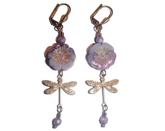 Dragonfly Czech Glass Flower Dangle Earrings Nature Inspired Boho E7