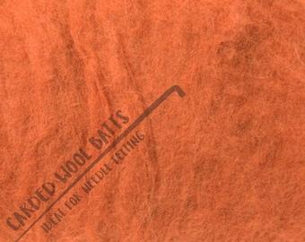 Fox Burnt Orange Carded Wool Batts For Needle Felting 5g 10g 20g | 100% Sheep Wool | Needle Felting Wool Dark Orange Fox Pumpkins Halloween