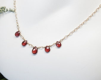 Garnet Necklace, January Birthstone, Red Gemstone Necklace In Gold Filled, 16-19.25 Inches Length, Pyrope Garnet Jewelry
