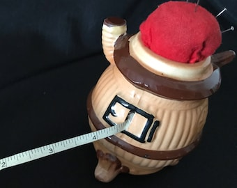 Vintage Ceramic Stove Tape Measure Pin Cushion