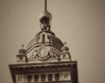 Brighton Square Clock - Great Britain Inspired Decor - United Kingdom Travel Art - Black and White Decor - Fine Art Photograph