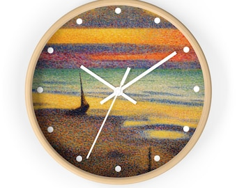 Plage à Heist (Beach at Heist) by Georges Lemmen, Art Print Wall Clock