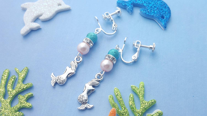Mermaid Clip On Earrings Kids Earrings Fantasy Jewellery
