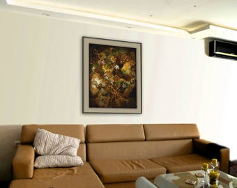 Fairy art, Art print on canvas by night landscape made with eco print, homelike room decor, old lime tree with fireflies, brown painting