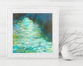 Impressionist Art Printable - Abstract Landscape Painting - Square Abstract Art Print - Waterscape Print - Modern Home Decor - 8x8 10x10