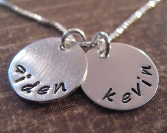 Personalized Necklace - hand stamped necklace - Small Ones  -custom mothers necklace -