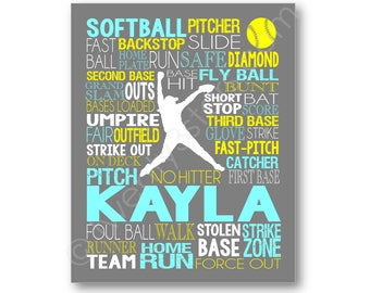 Softball Art, Softball Gift, Softball Poster, Softball Typography, Softball Player Gift, Personalized Softball Pitcher, Softball Canvas Art
