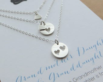 Grandmother of the bride gift, Grandmother mother daughter necklace, set of 3 heart cutout charm, mom wedding gift, three generations
