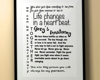 Grey's Anatomy/Grey's Anatomy Quote/Grey's Anatomy Quotes/Meredith Grey/Television Quote/Subway Art/Downloadable Quote/Grey's Anatomy Decor