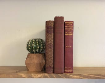 Vintage Books // 1800's to Early 1900's // Gold Lettering // Maroon Wine Color // Wedding Centerpieces // Antique