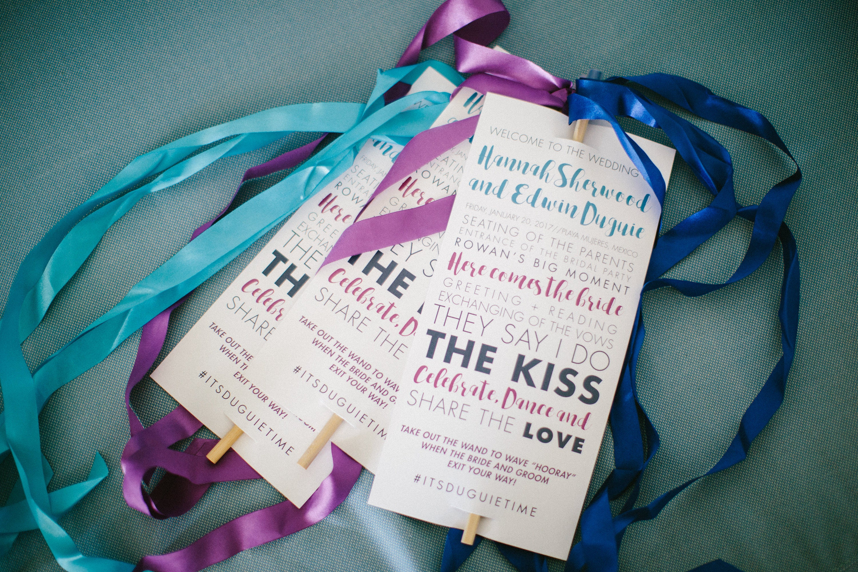 Custom Ribbon Wand Wedding Programs