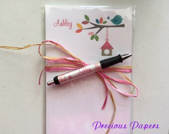 Personalized bird house notepad and pen  bird house pen and pad set