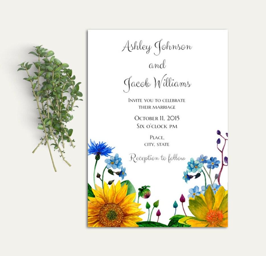Rustic wedding invitation template Garden wedding invitation