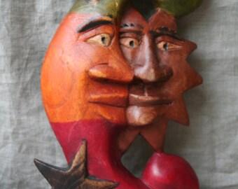 Sun & Moon Wooden  Plaque Wallhanging, Vintage, Native Folk Art, Handcarved Wood, Bohemian