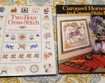 2 Cross-Stitch book lot ** Carousel Horses in Cross-Stitch by Donna Kooler & Two-Hour Cross-Stitch: 515 Fabulous Designs by Patrice Boerens