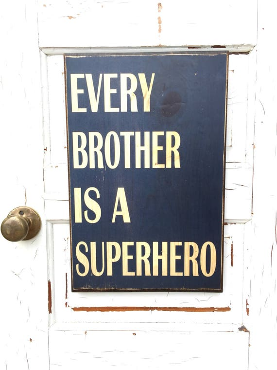 Every Brother Is A Superhero Sign On Wood, Superhero Decor For Boys Room, Art For Superhero Boys Room, Boys Rom Decor, Brother's Room Decor