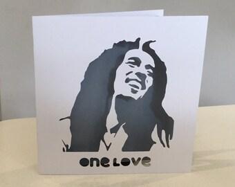 Papercut Bob Marley Reggae One Love Birthday Anniversary Valentine Wedding Marriage Engagement or General Card Art Gift Present