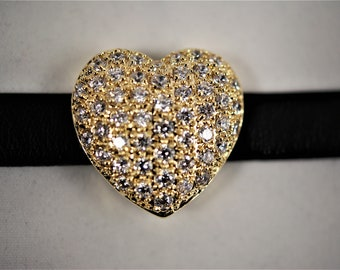 Gold Plated Cubic Zirconia and Leather Bracelet