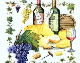 4 Decoupage Napkins | Grape Arbor Wine Bottles Grapes Barrels Corkscrew Cheese | Wine Napkins | Paper Napkins for Decoupage