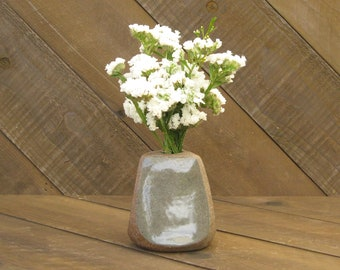 Triangle Vase - Vase - Ceramic Vase - Pottery Vase - Wheel Thrown - Reduction - Celadon Glaze - Go Play Clay - Guiliotis - Made to Order