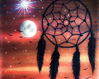 Dream catcher  -  silhouette - miniature miniature limited edition print mounted on wood