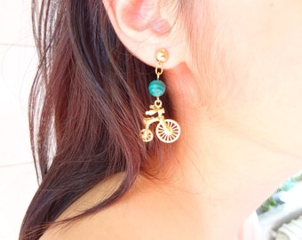 Gold Bicycle and Green Malachite Gemstone Earrings, Flower Girl Earrings, Mother's Day Gifts, Gift for Girlfriends