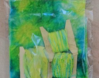 Luscious Hand dyed Velvet Pack in blue-green-yellow (V149)