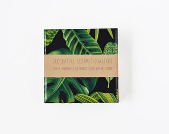 Plant Leaves Coasters Philodendron Botanical Ceramic Coasters Tile Drink Coasters Green Black
