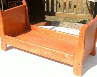 Pine Sleigh Bed for American Girl dolls