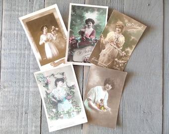 Set of 5 Vintage Romantic Women  postcards.