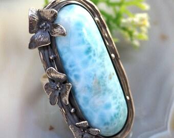 Larimar Ring Atlantis Stone Sterling Silver Jewelry Izovella