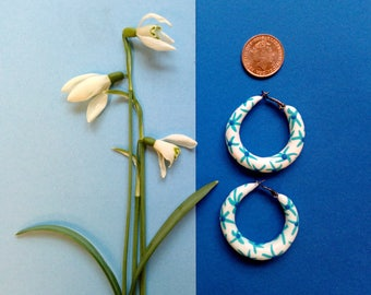 Small Spring Summer | Floral Botanical blue china | Hoop Earrings | Polymer clay | Handmade, Fimo | Matt Finish | Bespoke hoops