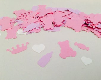 Princess confetti, Party decoration, Baby girl party decoration, Teddy bear, Hearts, Candy, Baby bottles, Crowns