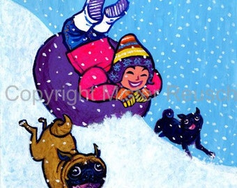 Winter Pug Original Acrylic Painting by Mister Reusch