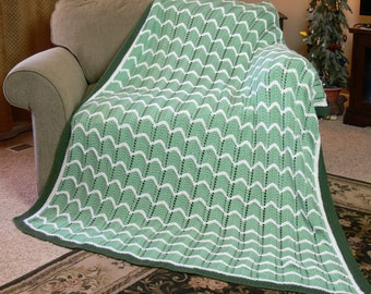 Vintage Handmade Lacy Ripple Knit Afghan Throw Blanket in Green & Cream White size: 64 x 76