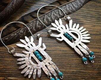 Tribal earrings, tribal petroglyph earrings, Navajo God beaded metal hoops