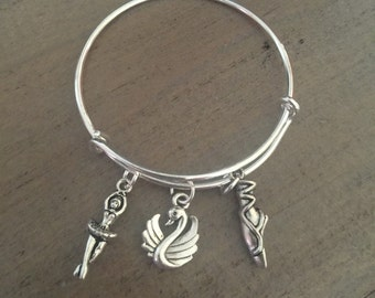Swan Lake Charm Bracelet, Ballet Bracelet, Dance Recital Gift, Bangle, Ballet Jewelry