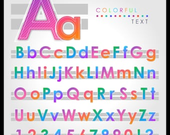 65 Colorful Alphabet, Letters, Colorful Numbers, Rainbow Alphabet, Digital Fonts, PNG Alphabet, Alphabet ClipArt, Digital Colorful Alphabet