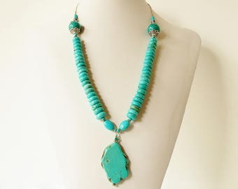 Turquoise Magnesite necklace, Pendant, unique, one of a kind