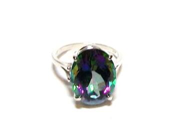 "Mystic topaz, topaz, topaz ring, cocktail ring, rainbow topaz, green blue purple,  s7 1/2  ""Colors of Royalty"""