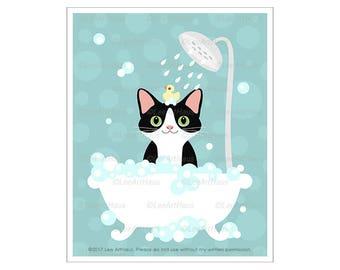 104D Cat Print - Black and White Cat in Bubble Bath Wall Art - Cat Wall Art - Cat Drawing - Cat Art - Bathroom Art - Bath Print - Bath Art
