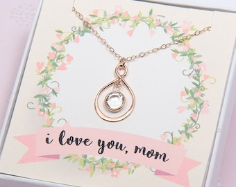 Mothers Day Gift, Mothers Necklace, Mothers Jewelry, Gift for Mom, Mom Gift, Rose Gold Infinity Necklace, Mommy Necklace, Gift for Mother