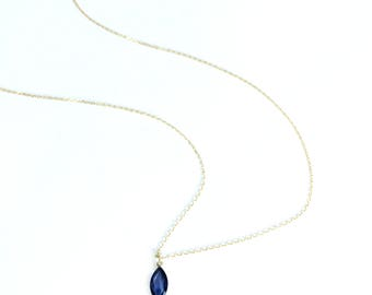 Gold sapphire necklace Sapphire solitaire necklace Dainty sapphire jewelry