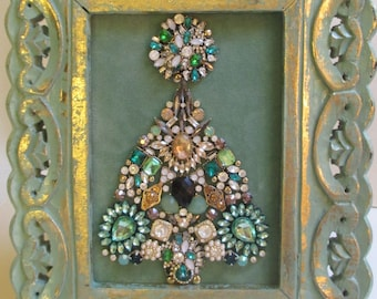 Jeweled Framed Jewelry Art Christmas Tree Mint Green Gold Art Deco