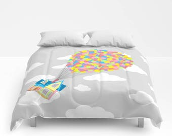Disney Comforter, Up! Comforter, Up! on a Gray Sky with Gray Clouds Blanket, Up Comforter, Disney Blanket, Pixar Comforter, Up! Coverlet,